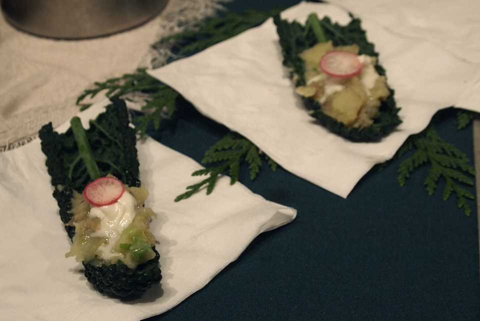 Cedar smoked mashed potatoes on Kale taco. The consensus: tasted like forest... in a good way!