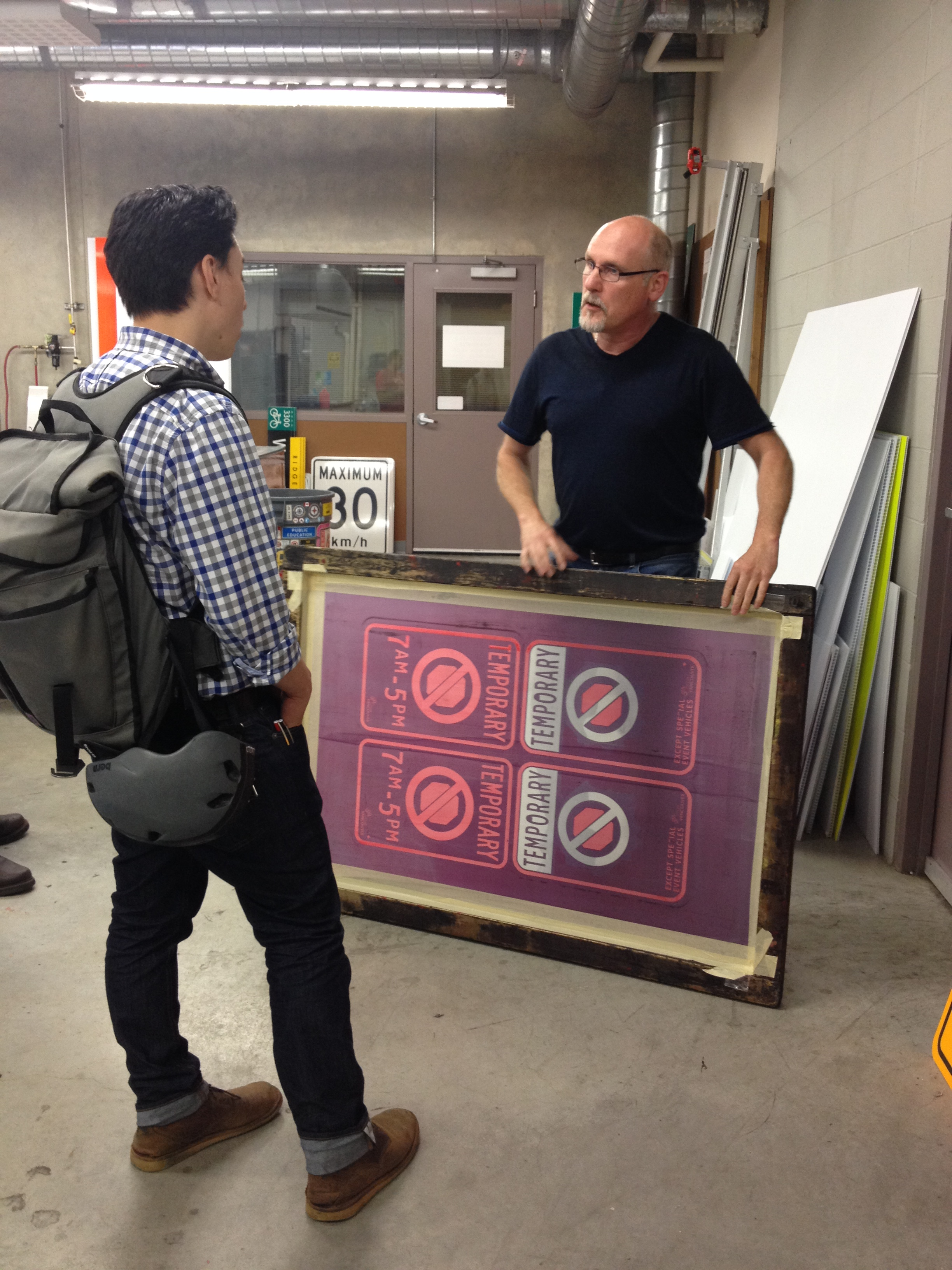 A screen printing template with our most helpful tour guide, Don